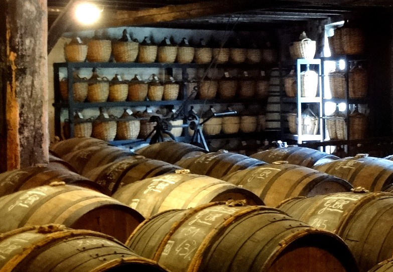 A storage where cognacs will stay for decades before to be prepared then bottled