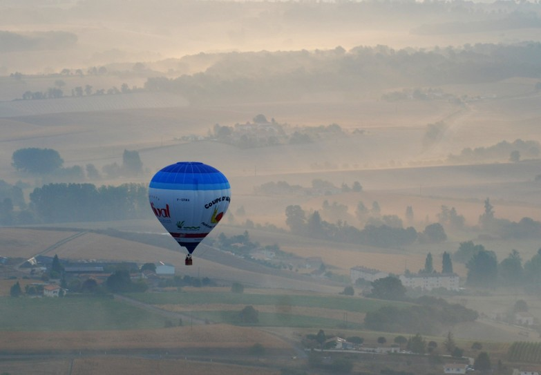 Air balloon flight above the vineyard of Cognac at early morning
